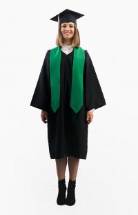 Мантия бакалавра с зелёным галстуком в комплекте
