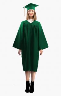 Мантия бакалавра с шапочкой цвет тёмно-зелёный