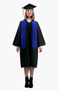 Мантия бакалавра с синим галстуком и шапочкой