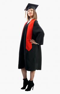 Мантия бакалавра с красным галстуком в комплекте